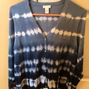 Blue Ombré & Tie-Dye Cardigan in EUC!